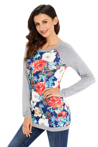Grey Raglan Sleeve Floral Top