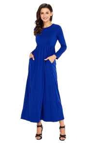 Blue Long Sleeve High Waist Maxi Jersey Dress