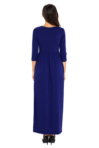 Royal Blue Pocket Design 3/4 Sleeves Maxi Dress