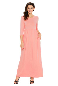 Coral Pocket Design 3/4 Sleeves Maxi Dress