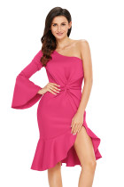 Rosy Twist and Ruffle Accent One Shoulder Prom Dress