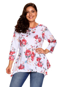 White Asymmetric Cut Floral Plus Size Top