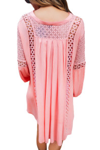 Pink Crochet Lace Trim Relaxed Long Sleeve Tunic