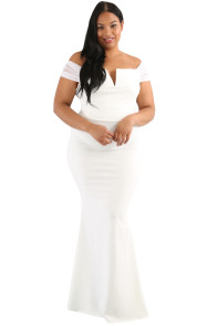 White Plus Size Sheer Sleeve Column Dress