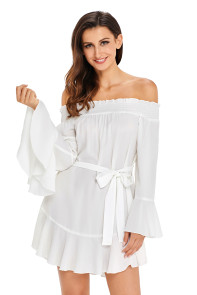 White Flare Sleeve Drop Hem Pleated Off Shoulder Dress