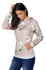 Apricot Floral Drawstring Hoodie