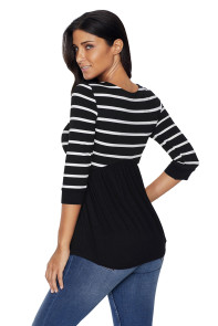 Striped Spliced Black Contrast 3/4 Sleeve Blouse