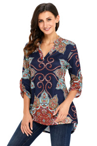 Navy Gypsy Floral Print Slight V Neck Blouse