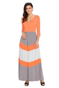 Orange and Gray Chevron Maxi Dress