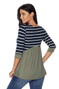 Striped Spliced Army Green Contrast 3/4 Sleeve Blouse