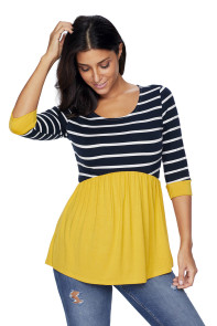 Striped Spliced Yellow Contrast 3/4 Sleeve Blouse