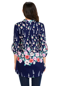 Navy Blue Vibrant Floral Print Slight V Neck Blouse
