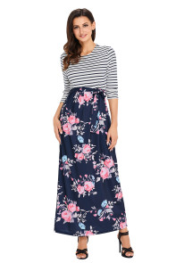 Striped Navy Blue Floral Skirt Maxi Dress with Tie Waist