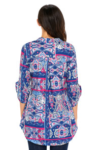 Blue Rosy Floral Paisley Print Slight V Neck Blouse