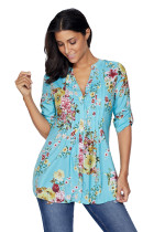 Light Blue V Neck Pleat Button Front Floral Tunic Top