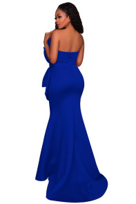 Blue Oversized Bow Applique Evening Party Gown