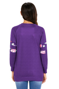 Floral Patch Accent Purple Sweatshirt