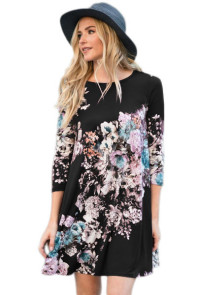 Dark Floral Long Sleeve A-Line Tunic Dress