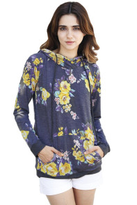 Charcoal Yellow Floral Drawstring Hoodie