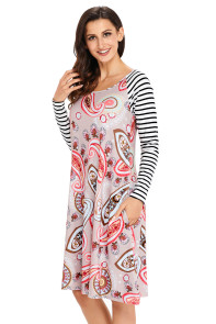 Brown Paisley Print Stripe Raglan Sleeve Dress