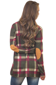 Olive Suede Elbow Patch Long Sleeve Plaid Cardigan