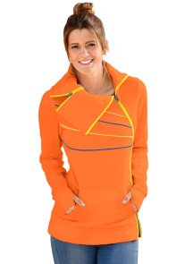 Zip and Piping Trim Orange Sweatshirt