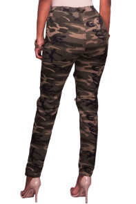 Destroyed Camouflage Style Stretch Pants