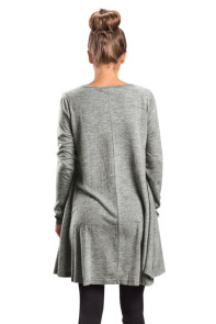Grey Swingy Layered Long Sleeve Tunic