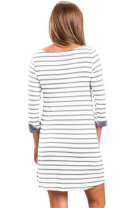 Gray Striped Deinm Blue Cuffs Casual Dress