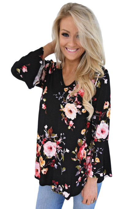 Black Bell Sleeve Floral Print Top