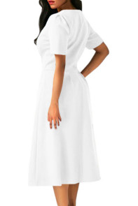 White Split Neck Short Sleeve Midi Dress with Bowknots