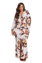 White Plus Size Ruched Floral Plunge Maxi Dress