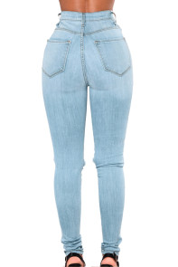 Light Blue Fishnet Splice High Waist Jeans