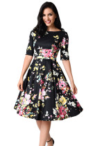 Black Vintage Style Floral Half Sleeve Swing Dress