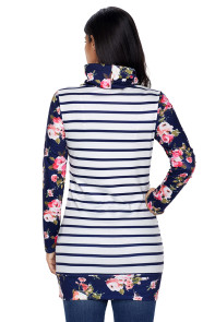 Dark Blue Striped and Floral Sweatshirt