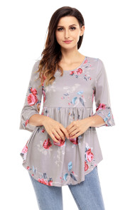 Gray Grounding Floral Print Babydoll Top