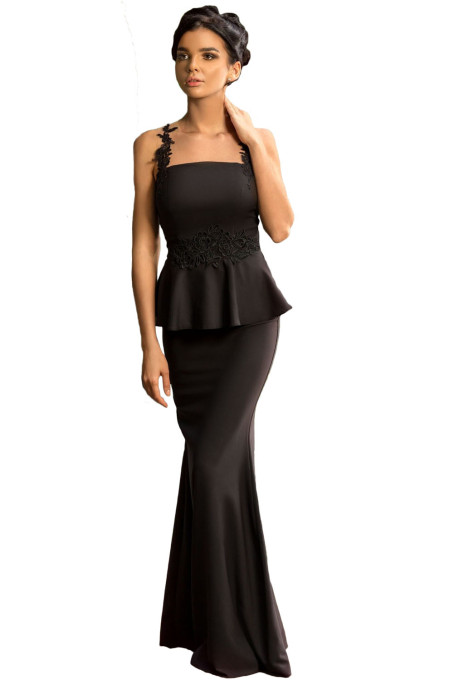 Black Delicate Floral Applique Mesh Insert Long Peplum Dress