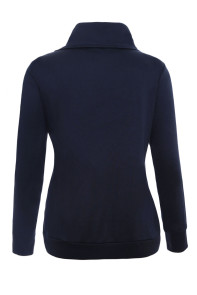 Zip and Piping Trim Navy Sweatshirt