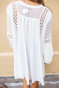White Crochet Lace Trim Relaxed Long Sleeve Tunic