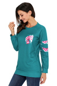 Floral Patch Accent Turquoise Sweatshirt