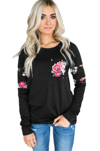 Floral Patch Accent Black Sweatshirt