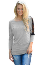 Grey Floral Lace Insert 3/4 Sleeve Top