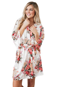 White Silky Floral Bath Robe