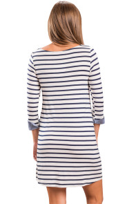 Navy Blue Striped Deinm Blue Cuffs Casual Dress