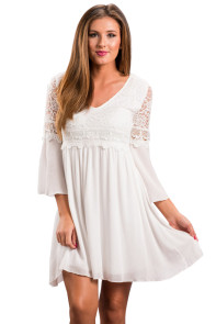 White Dreamy Lace Top Elegant Swing Dress