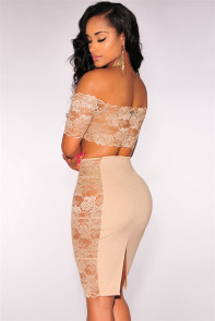 Lace off Shoulder Crop Top Skirt Set