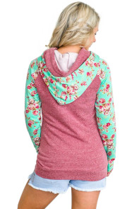 Mint Floral Splice Purplish Red Drawstring Hoodie