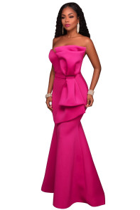 Rosy Oversized Bow Applique Evening Party Gown