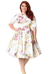 White Vintage Style Floral Half Sleeve Swing Dress