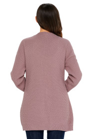 Pink Long Open Front Pocket Cardigan